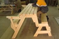 Стол-скамейка раскладной для дачи СОСНА (L=1800мм)